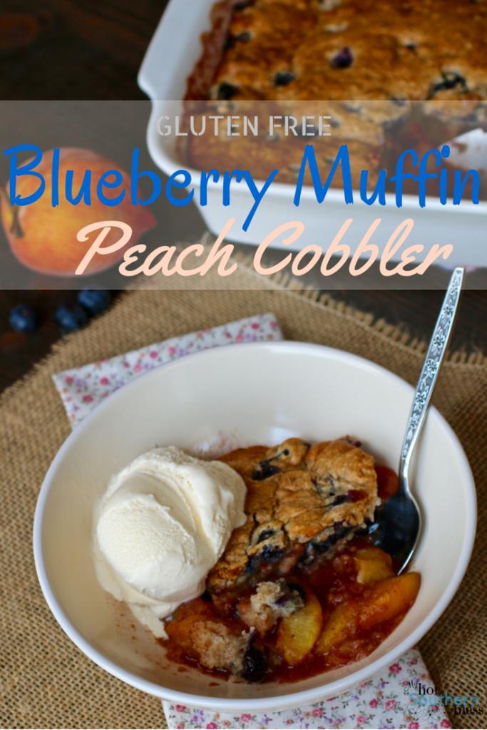 Gluten Free Blueberry Muffin Peach Cobbler | My Hot Southern Mess