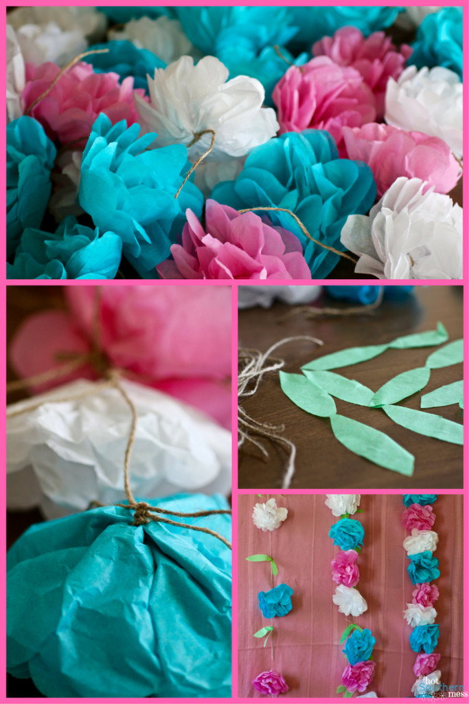 Tissue paper flowers garland my hot southern mess once you have your tissue paper flowers made you can begin your garland i made three different types the only difference between them was the spacing and mightylinksfo