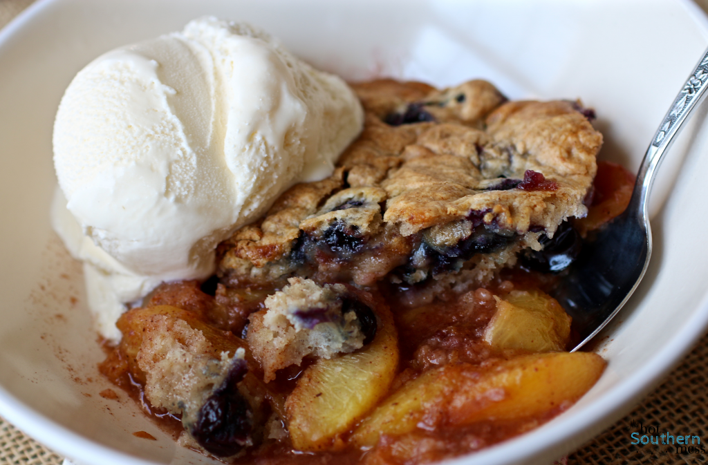 Gluten Free Blueberry Muffin Peach Cobbler | My Hot Southern Mess